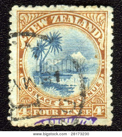 Vintage antique postage stamp from New Zealand