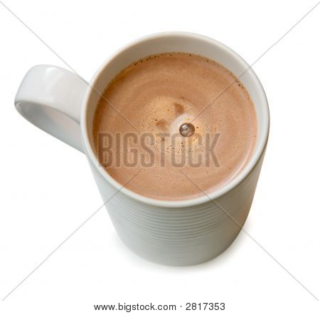 Hot Chocolate In A Cup Isolated On White