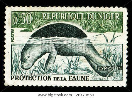Vintage antique postage stamp from Niger