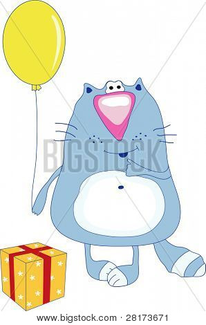 Cat witch balloon near the Present -illustration. Vector version of this image (