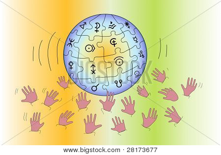 "Concept with globe puzzle in hand - illustration. Vector version of this image (""*.eps"") also available in my portfolio."