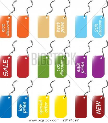 Price and labels tag sets - vector illustration. Remove easy the messages from the tags, change the color and write your own text on it.