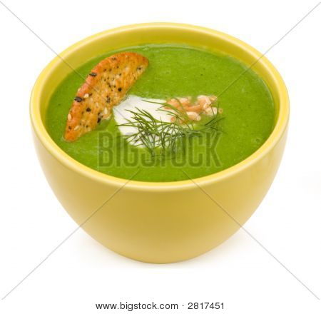 Cream Of Broccoli In Yellow Bowl Isolated