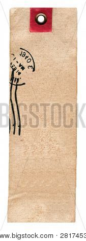 Textile prise label with stamp isolated on white