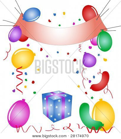 "Party poster, balloons, confetti, gift box - illustration. Vector version of this image (""*.eps"") also available in my portfolio."