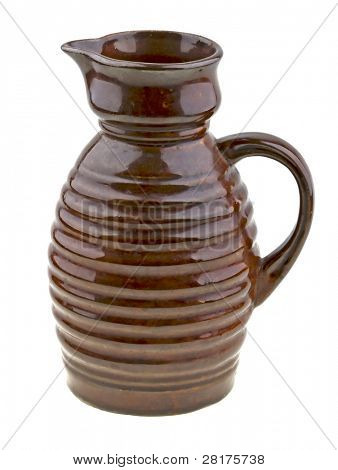 Vintage olg ceramic jug isolated on white background