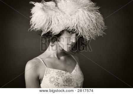 Portrait Of A Woman Wearing A Fur Hat