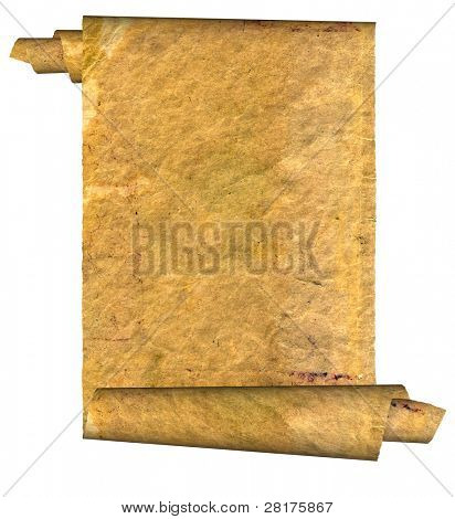 Vintage grunge rolled parchment illustration with ragged borders