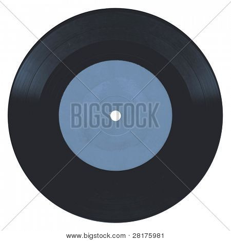 Close-up vintage vinyl record isolated on white background