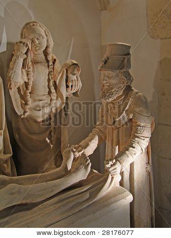 Skulptur von Christ die Grablegung, spätes 15rh.