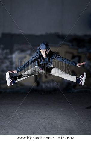 Cool Asian guy jumping