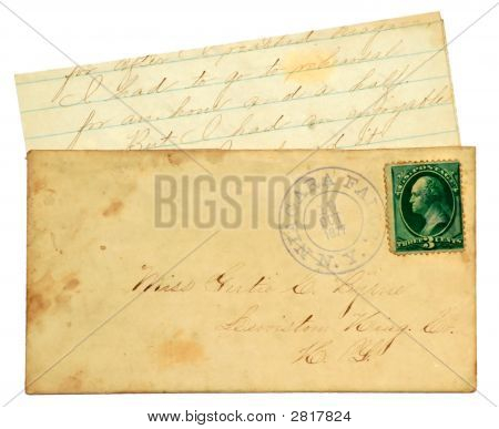 Old Letter And Envelope.