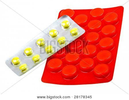 Close-up medicaments pills isolated on white background