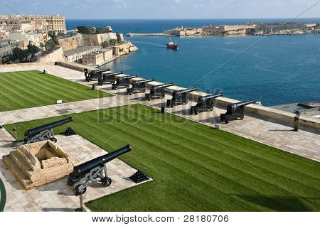 beautiful view from upper Barrakka Gardens of saluting battery and Grand Harbor of Valletta, Malta