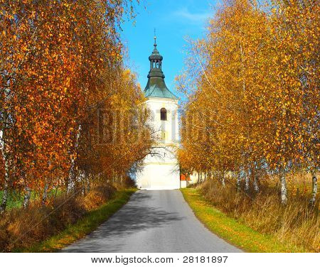 Road to Bila Hurka (white hill) with baroque church of St. Stephen and rare medieval village from 14 th century - most beautiful place in South Bohemia - Czech Republic Europe