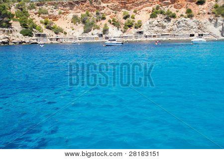 Cala d Hort beach Ibiza island in Balearic Mediterranean Sa Talaia