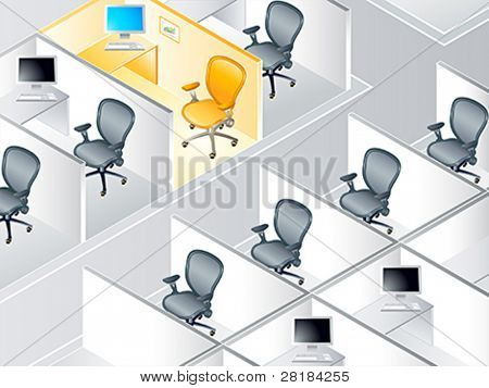 Office cubicle rows with the special one concept