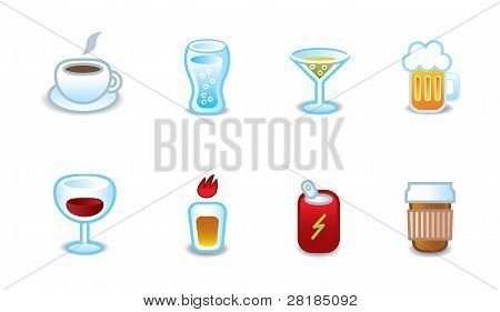 Restaurant menu drinks matte icon variations