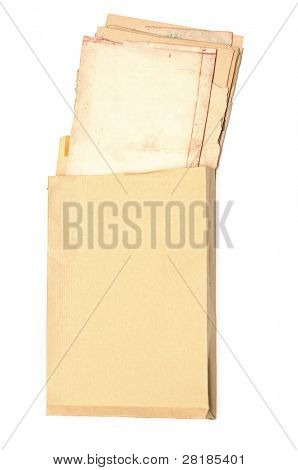 yellow envelope with old paper sheets isolated on white background