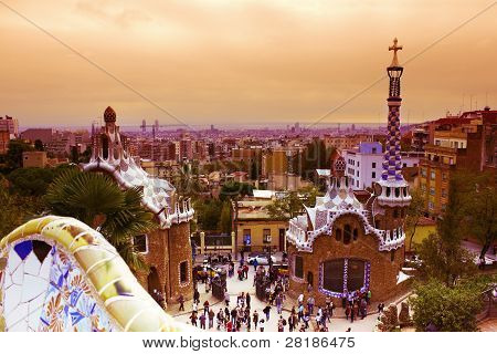 Park Guell at sunset, Barcelona, Spain