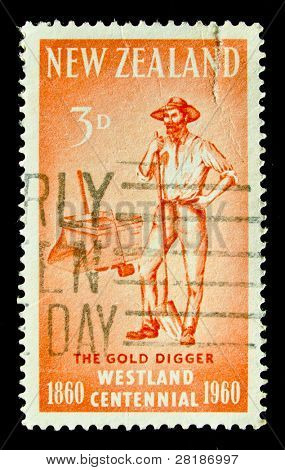 NEW ZEALAND - CIRCA 1960: A stamp printed in New Zealand shows Gold Digger, circa 1960