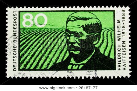 GERMANY - CIRCA 1988: stamp printed by Germany shows portrait of Raiffeisen, Friedrich Wilhelm - leader of the cooperative movement, circa 1988