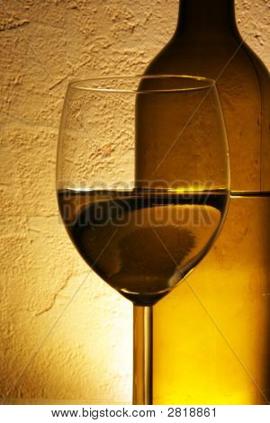 Bottle And Glass Of White Wine
