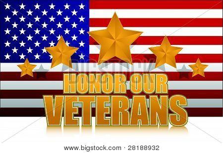 nos honrar nossos veteranos sinal de ouro ilustração desenho em branco