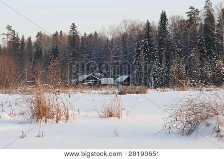 Cottage On The Bank Of Pond