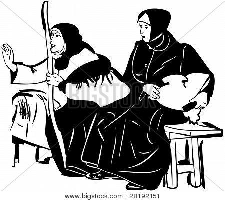 zwei Frauen in schwarz Tücher auf der Bank