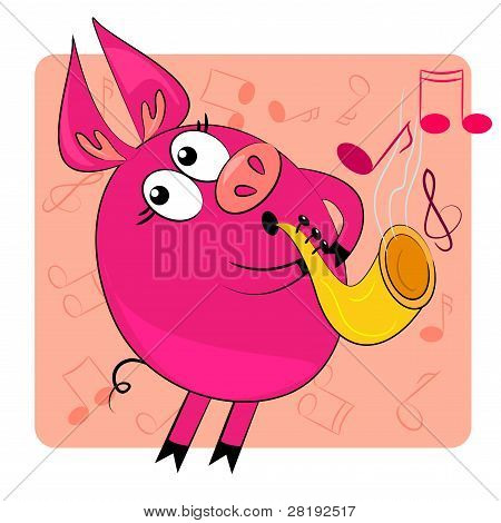 cartoon animal play musical instrument.vector image