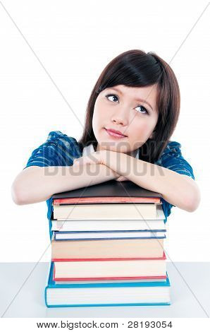 Casual Girl Resting On Books