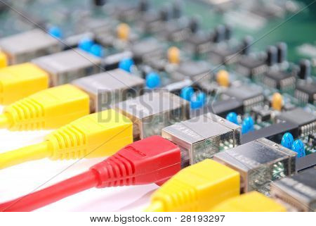 Rj45 Network Plugs Red And Yellow