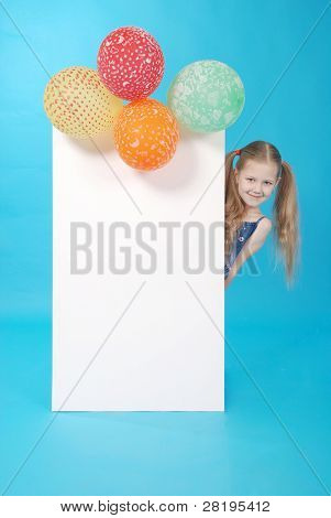 Girl And White Billboard And Balloons