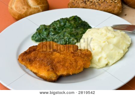 Cordon Bleu With Spinachpuree And Veal Meat.Gourmet Eat.