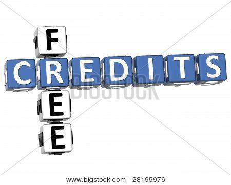 3D Free Credits Crossword
