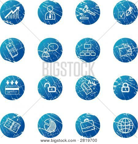 Blue Grunge Business Icons
