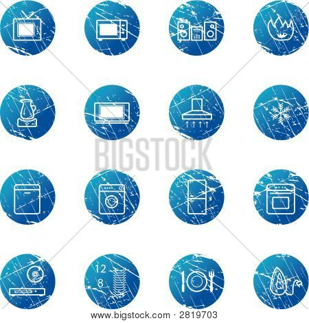 Blue Grunge Household Appliances Icons