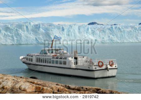 Excursion Ship Near The Perito Moreno Glacier In Patagonia, Argentina.