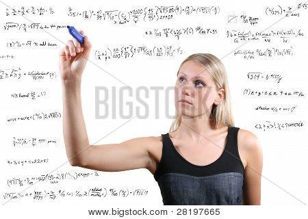 Woman Writes Mathematical Equations