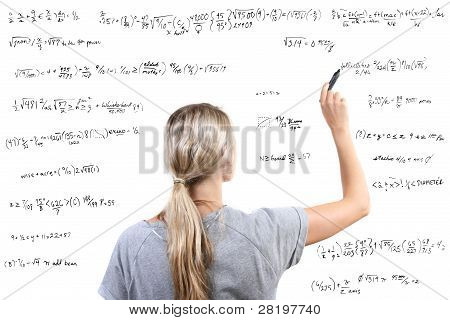 Woman Writing Mathematical Equations