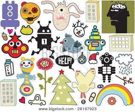 Mix of different vector images and icons. vol.36