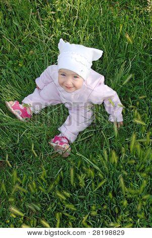 Sweet Baby Girl On Grass