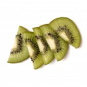 kiwi fruit slices isolated on white background closeup. Half of kiwi slice. Kiwifruit slice,  flatla poster