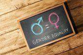 Equality Of Gender Symbol On The Blackboard. Equality Gender Concept poster