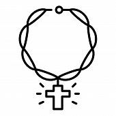 Rap Chain Cross Icon. Outline Rap Chain Cross Vector Icon For Web Design Isolated On White Backgroun poster
