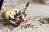 Chocolate Cream Ice Cream In A Bowl. Ice Cream And Banana. poster