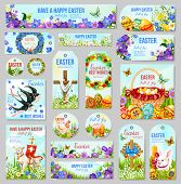 Easter Tag And Label Set For Religion Holiday Design. Easter Egg Hunt Basket, Rabbit Bunny And Cross poster