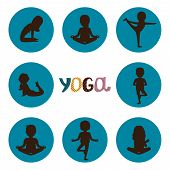 Yoga Poses Silhouettes Icons Vector Of Set. Kids Yoga Silhouette Pose, Sport And Stretching Illustra poster