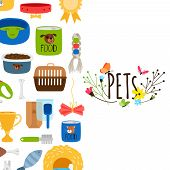 Vector Pets Background With Pet Shop Icons. Pet Comb, Feed And Leash Illustration poster